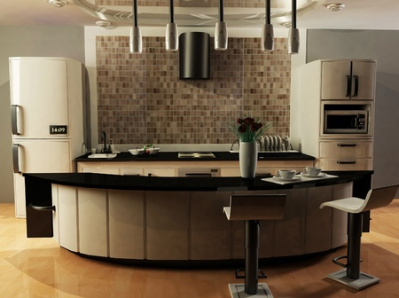 this is an interior of a modern kitchen, rendering  photo
