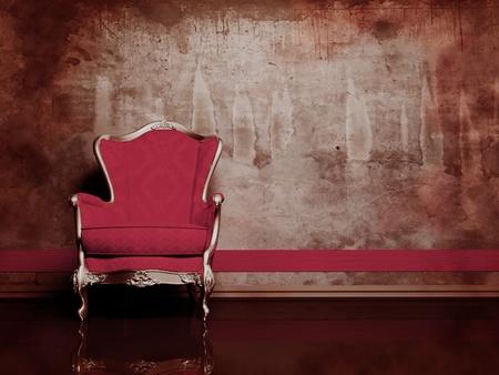 muebles antiguos: se trata de un interior moderno con un sillón rojo clásico en el fondo sucio