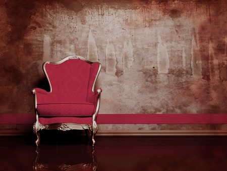 antique furniture: this is a modern  interior with a red classic armchair on the dirty background