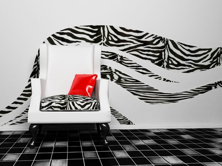 red pillows: a blask and white armchair with a red pillow,african interior, rendering