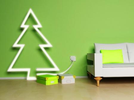 dit is een kerst interieur met een mooie gloeiende elektrische spar, cadeaus en een bank
