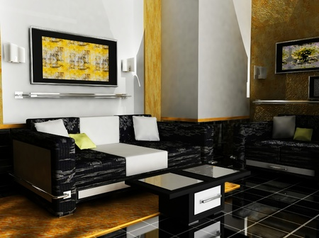 this is an interior of a room with the sofas, pictures and the table Stock Photo - 12879601