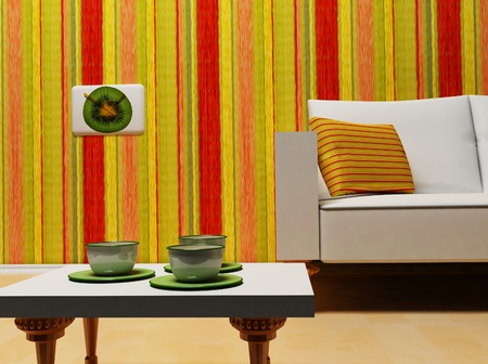 this is a nice interior with the colored stripes photo