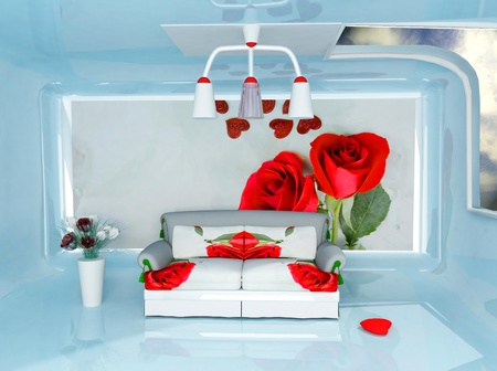 this is a romantic interior with a sofa and the rosez Stock Photo - 12867186