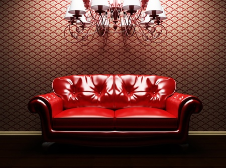 this is an eleganse interior with a sofa and a luster photo