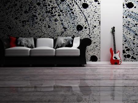habitacion desordenada: se trata de un interior moderno con un sof� y una guitarra Foto de archivo