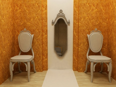 Classic interior design, two elegance armchairs with mirror, gold vintage wallpaper, rendering photo