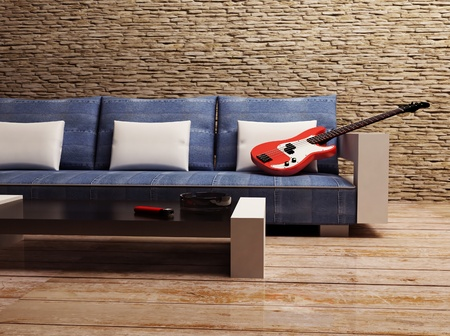 this is a grunge interior with a sofa, a table and a gitar photo