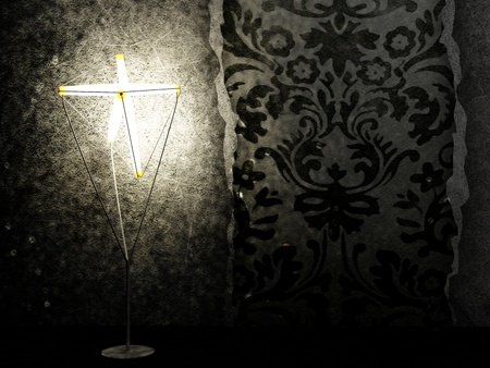 beautiful floor lamp glows in the dark room Stock Photo - 12880854