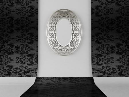 spiegelbeeld: Een mooie vintage spiegeltje aan de wand Stockfoto