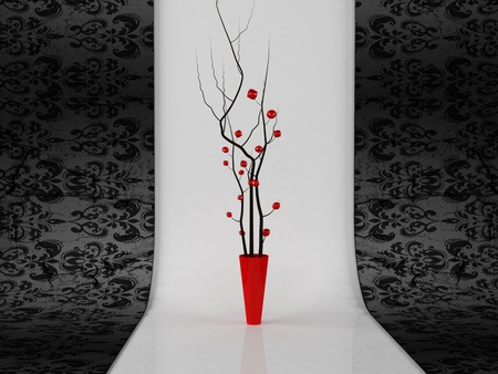 domestic interior: beautiful red vase with branches in vintage interior