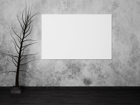 blank advertising billboard and a decorative tree photo
