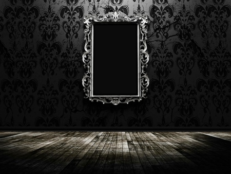 a beautiful vintage mirror in a dark room Stock Photo