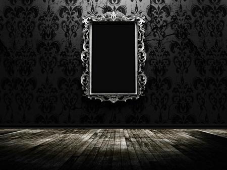 a beautiful vintage mirror in a dark room 스톡 콘텐츠