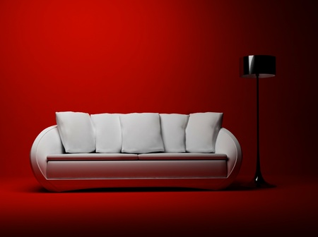 red sofa: this is a modern interior with a sofa and a floor lamp on the red background