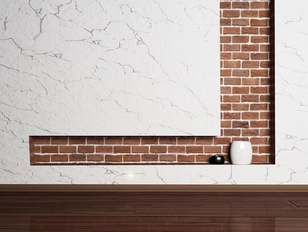 empty minimalist room with wall and brick niche
