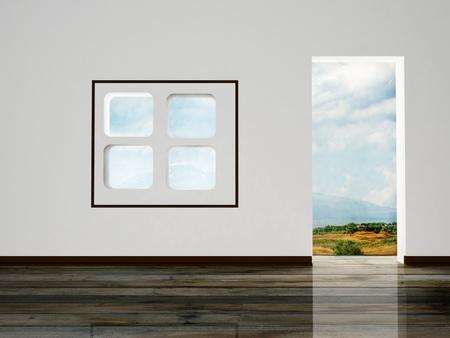 Interior design scene with a doorway, a creative window photo
