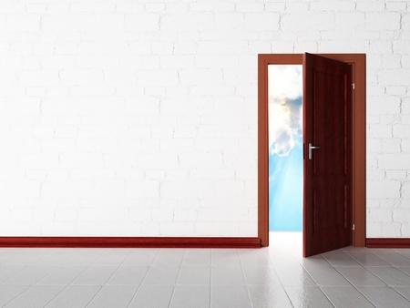 portone: Scenografia interna con una porta aperta