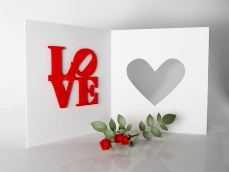romantic card and roses for Valentines Day photo