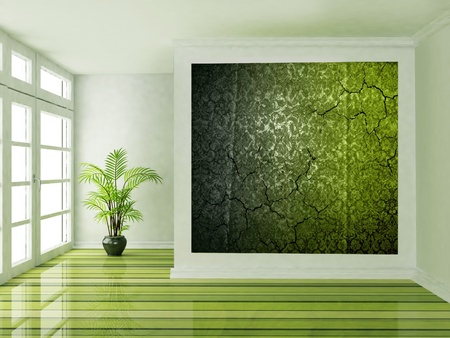 Interior design scene with a big window and a plant photo