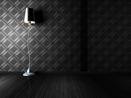 bedroom wall: classic floor lamp in a dark room