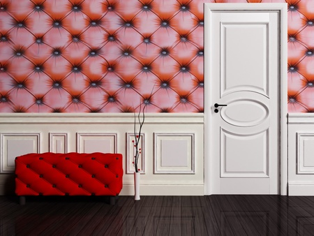 pouf: Interior scene with a door and pouf