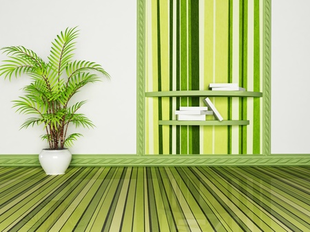 Interior design scene with a bookshelf and a plant, rendering photo