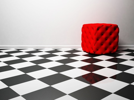 pouf: this is a nise interior design with a red pouf on the black and white floor, rendering