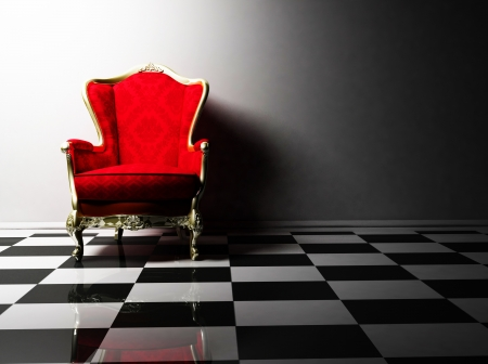 black red: this is an interior design with a classic elegant red armchair on the black and white floor
