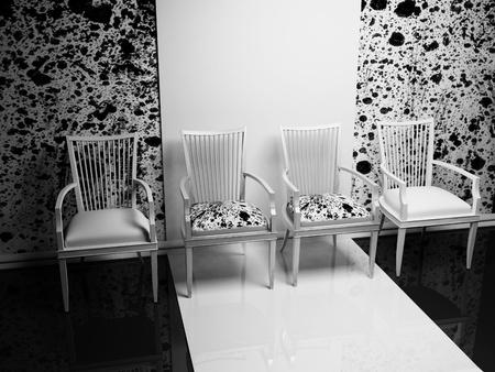 adn: Escena del diseño interior con cuatro sillas en una fila, negro blanco adn