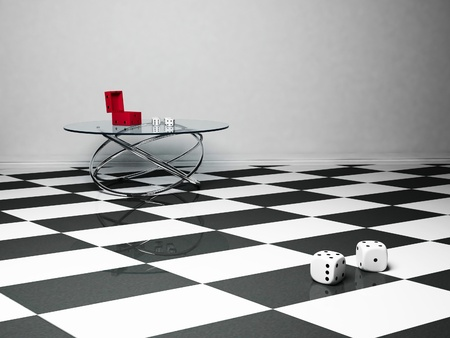 Interior design scene with a glass table and the dice, black,red and white photo