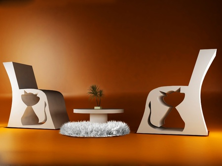 cretive: this is a modern interior with the armchairs a table, a carpet