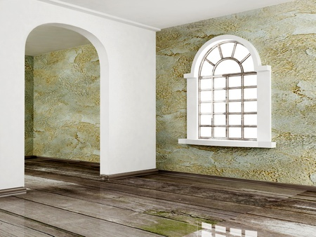 architectural feature: Interior design scene with an arched doorway and a window Stock Photo