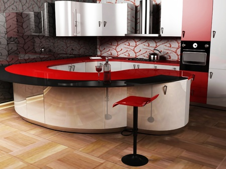 this ia an interior of modern kitcher with a chair, rendering photo