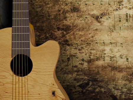 guitarra acustica: La guitarra de Niza interesante sobre el fondo del grunge Foto de archivo