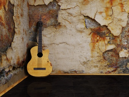 Nice interesting guitar on the grunge background photo