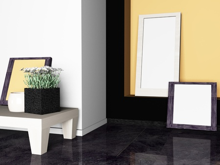 skirting: Interior design scene with the vases and the pictures