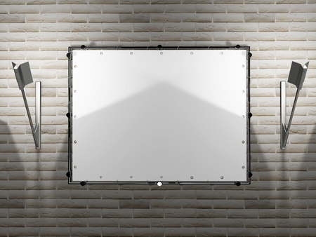 blank advertising billboard with the lamps on a brick wall photo