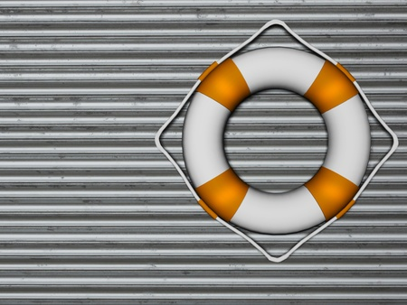 Lifebuoy attached to a metallic wall, rendering photo