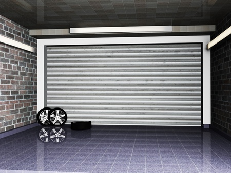 garage with metal roll up door and the wheel photo