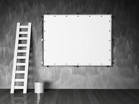 blank advertising billboard on a grunge wall Stock Photo - 12867241