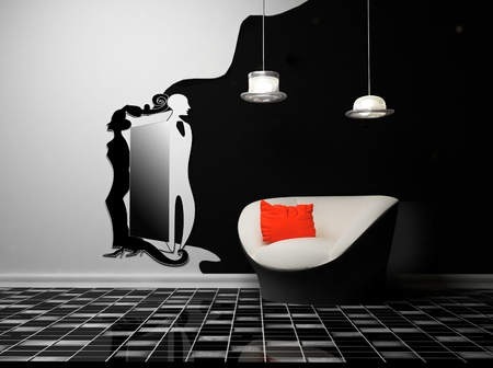 this is a modern creative interior with an armchair and a lamp and a mirror