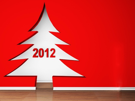 holiday interior with a doorway in the shape of Christmas trees photo