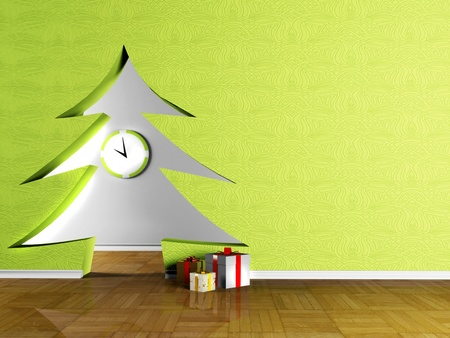 holiday interior with a doorway in the shape of Christmas trees and the gifts photo