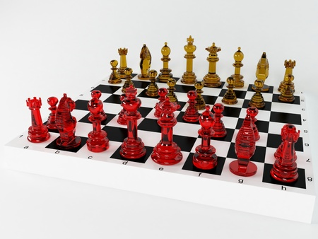 Composition with chessmen, rendering photo