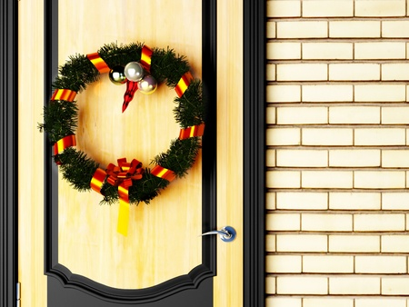 Christmas wreath on door Stock Photo - 12867419