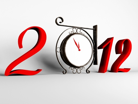 composition for the new year with a clock and figures photo