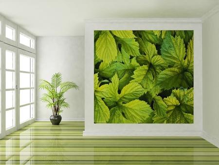 big window: Interieurontwerp scène met een groot raam en een plant Stockfoto