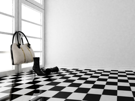 the black leather boots and a bag in the interior, similar images are in my portfolio photo