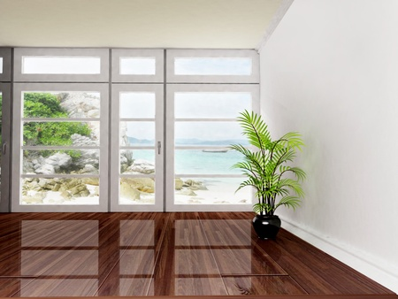clean window: Interior design scene with a big window and a plant Stock Photo